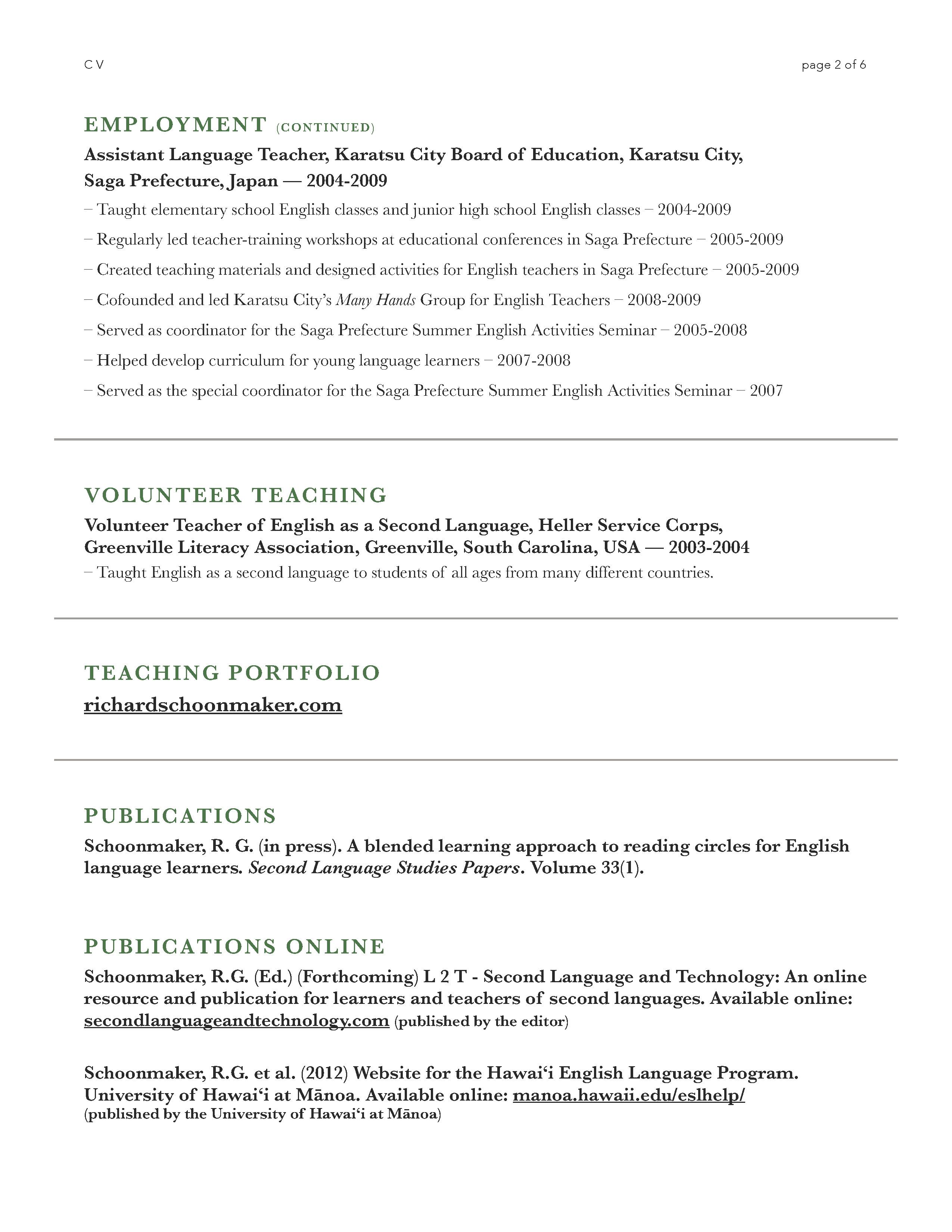c v richard schoonmaker cv 5th 2014 page 2