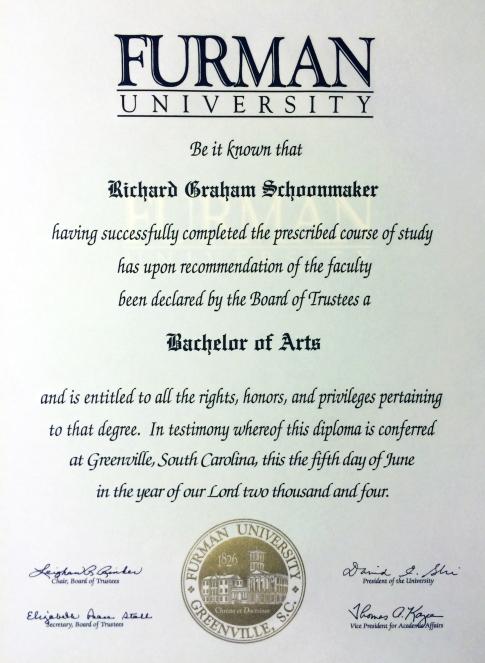 Furman Diploma