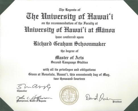 UH MA Diploma